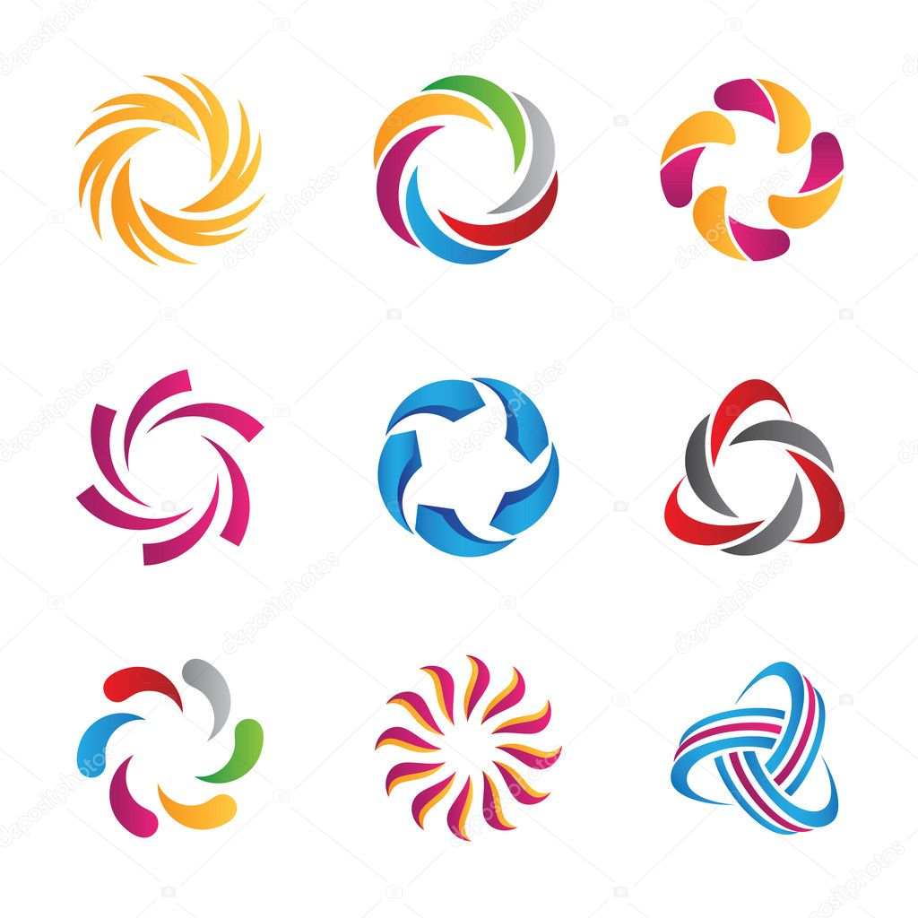 Abstract social loop circle logos and icons template, human communication, partnership and interaction in community and internet media and network