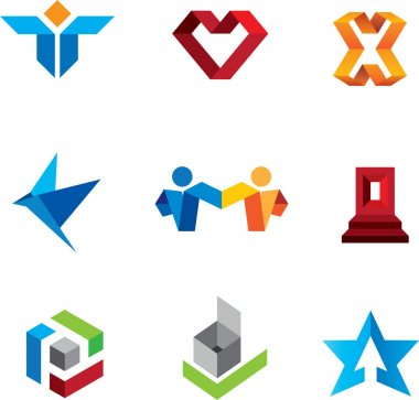 Social community people and creative innovation guru fold logo symbols