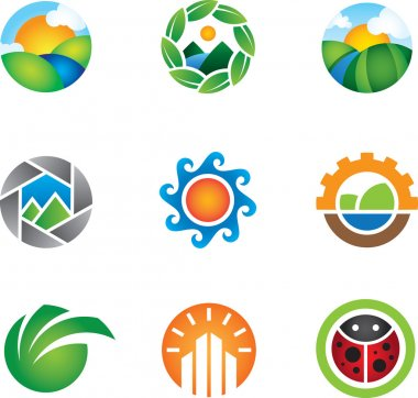 Beautiful colorful nature landscape captured logo vector template graphic for small or big business success of eco friendly person living green life of energy efficiency