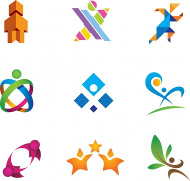 Colorful social media and people in community logo symbol