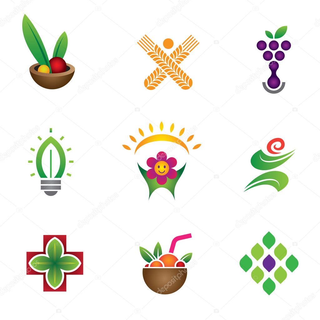 Unique food & health symbol logo set template company
