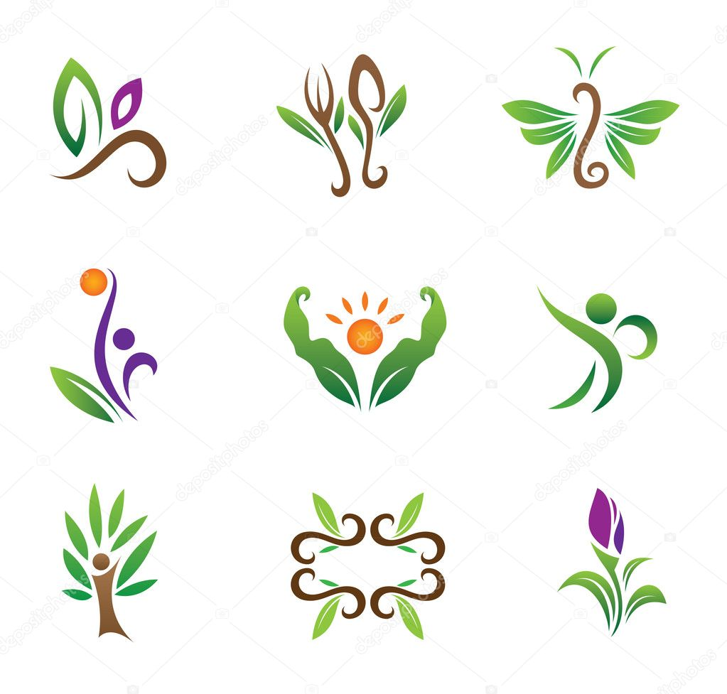In harmony with nature elegant style logo template