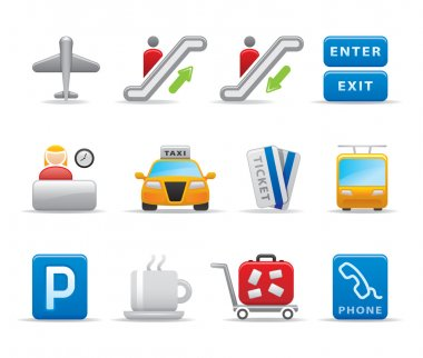 3D Airport travel the world agency logo and icon