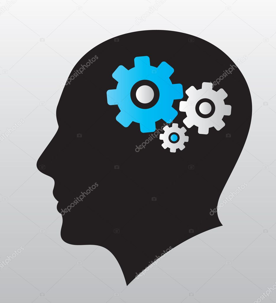 Great human brain working out logo template