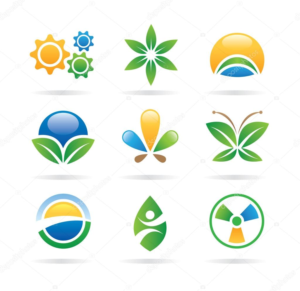 Eco icons for nature medicine and health of people