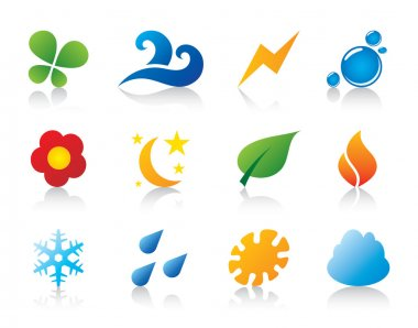 Nature season weather pictogram logo vector template