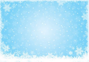 Blue ice white snow flake background for winter stock vector