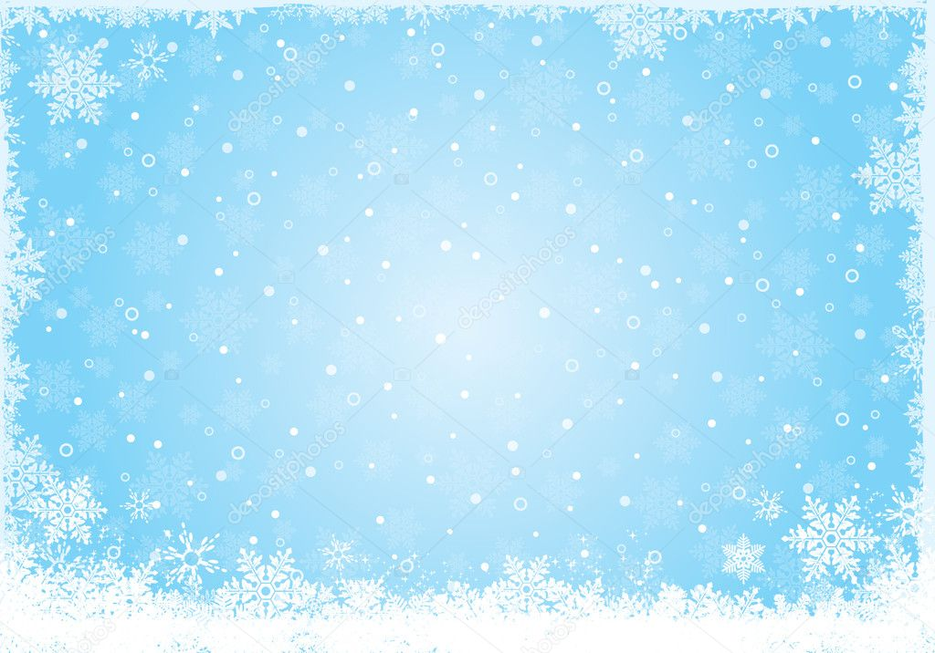 Blue ice white snow flake background for winter