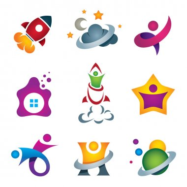 Man exploring the deep space - rocket launch and flying to the stars designer concept icon stock vector