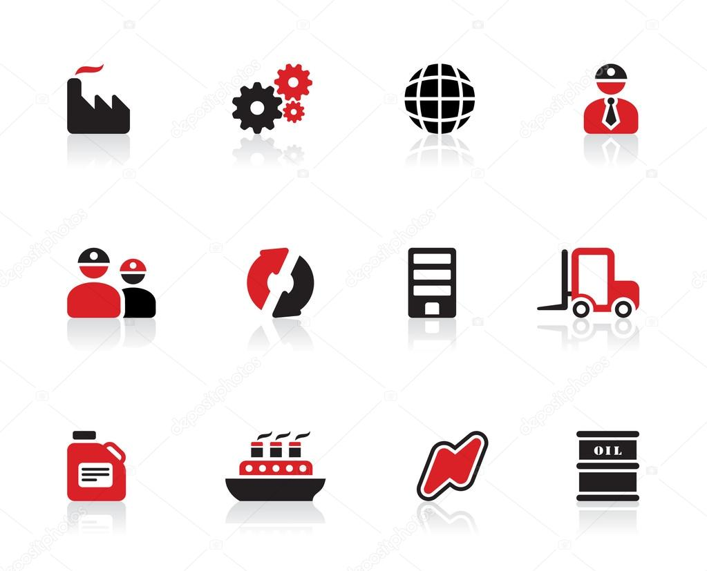 Black and red color industry logo design and icon set - energy efficiency and fossil fuel generation transportation oil