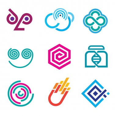 Abstract figures, Hard lines simple pixel pictogram computer icon set,Innovative colorful social network science set of icons and outline symbols