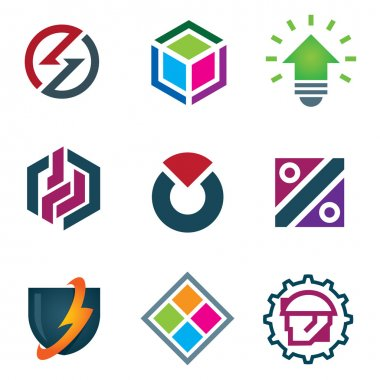 Mind bending attractive application design logo modern solution icon set, Diferent symbols set