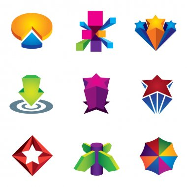 Color 3d social super star icon set for internet web creativity logo vector illustration success, Up star arrow business marketing and finance economy icon set