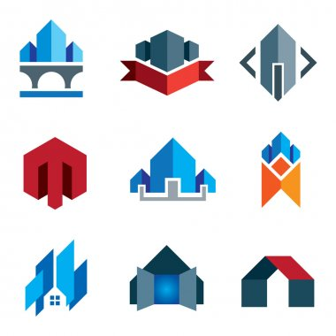 My new age generation - historic virtual building construction architecture company label and creation of 21st century smart house logo or family home icon set