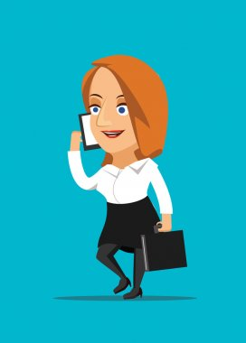 Businesswoman talking on smartphone and making a deal vector illustration