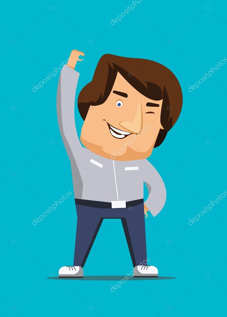 Thinking positively man being alive living vector illustration icon