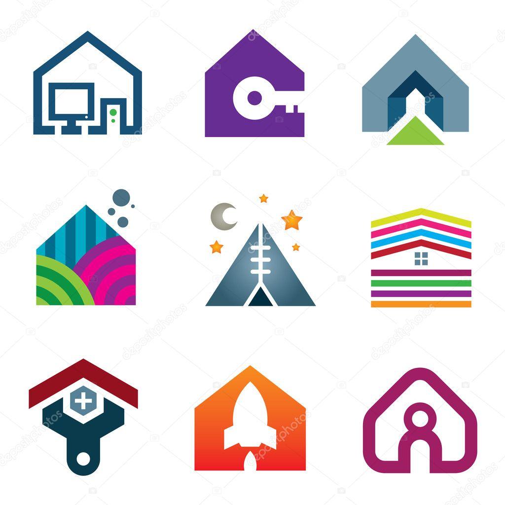 schönes modernes Haus kreative Ideen Bau des zukünftigen Icon-set ...