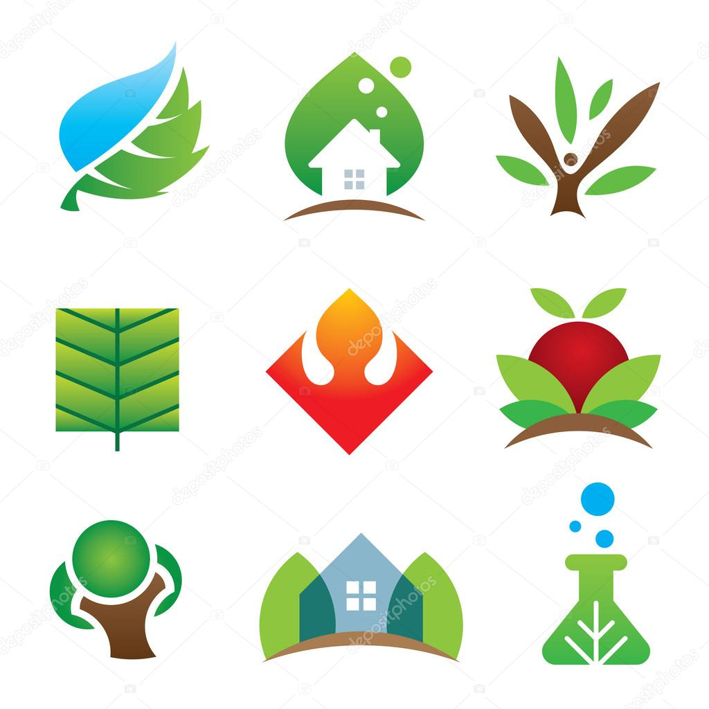 Green eco environment science creation for brighter future icon set