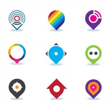 Modern world app global position locator community internet media logo icon