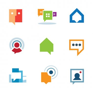 Personal social community conversation on internet network chat logo icon