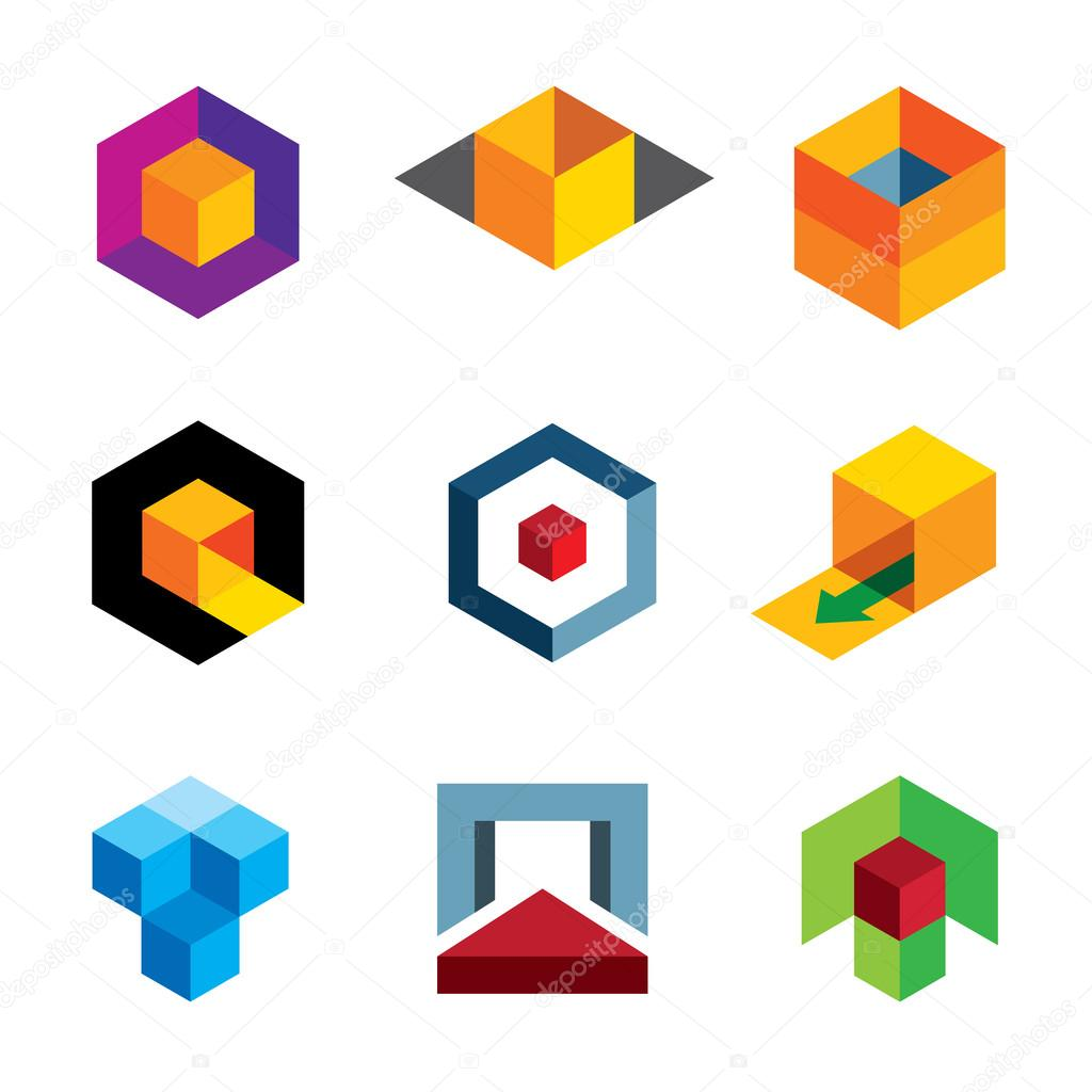 Creative 3d cube body for professional company logo icon