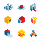 3D svět spouštěcí myšlenku kreativní virtuální společnosti prvek loga ikony