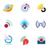 Ether World Connectivity Signal Position Positionierung Wellen übertragen Logo-Symbole