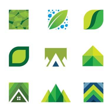 Green life creative logo set construction better life icons vector