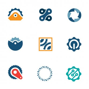 Wheel power steal machine industrial part logo icons set