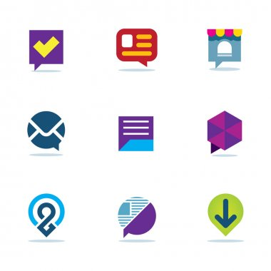 Bubble chat talk dialogue social network community logo icon set