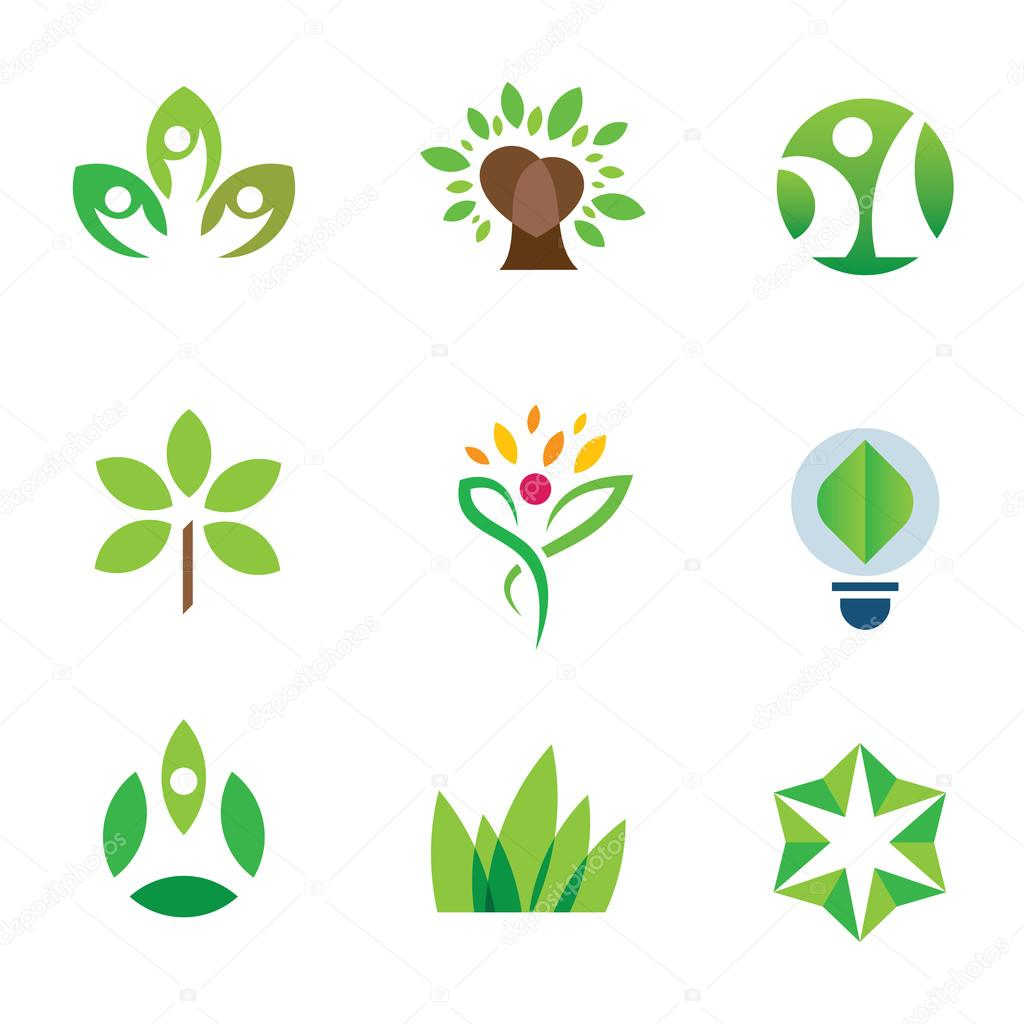 Eco environment awareness green tree nature community  logo icon set