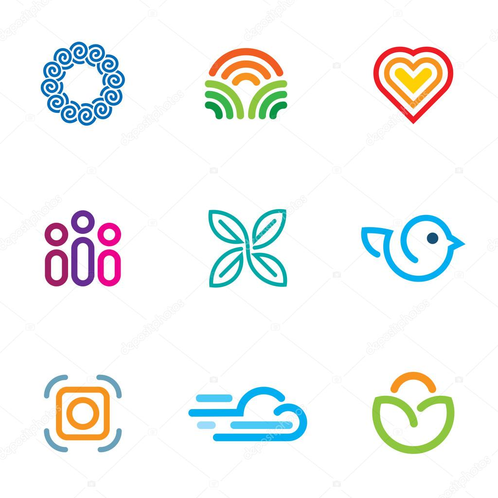 Simple line blog forum logo community fast download icon set
