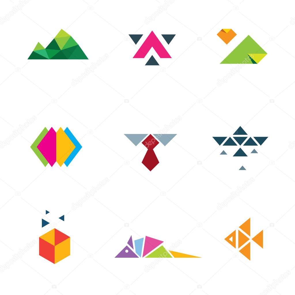 Business strategy geometric paper form mosaic logo icon set progress