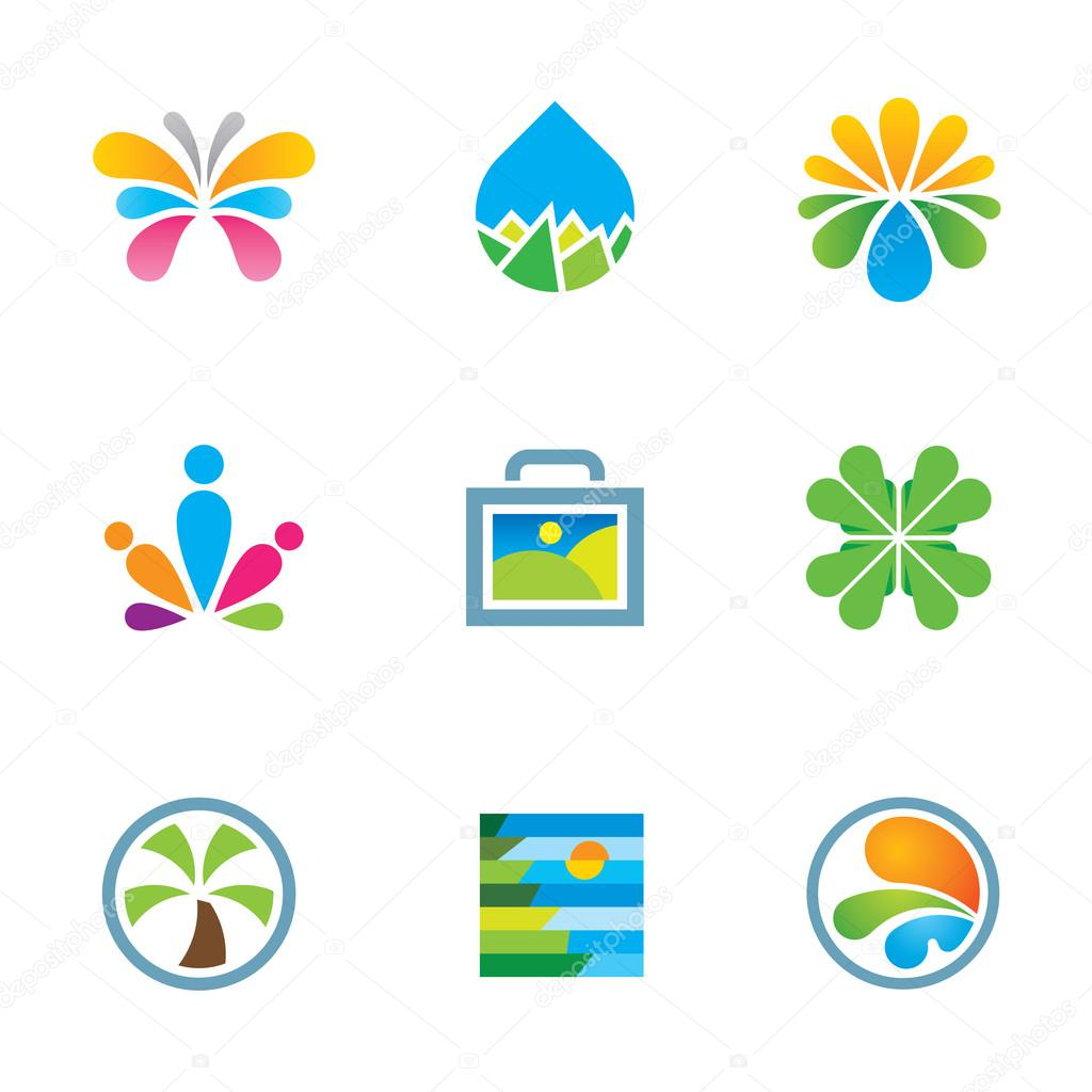 Colorful floral nature splash art travel experience logo icon set