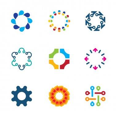 Colorful social circle partnership technology connection bond logo icon set