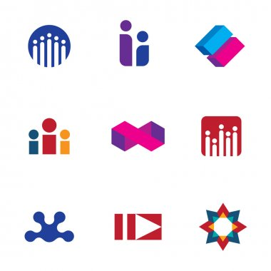 Abstract social networking community people logo set forum icon vector