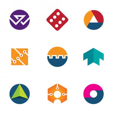 Technology success luck foundation arrow boost up logo icon set