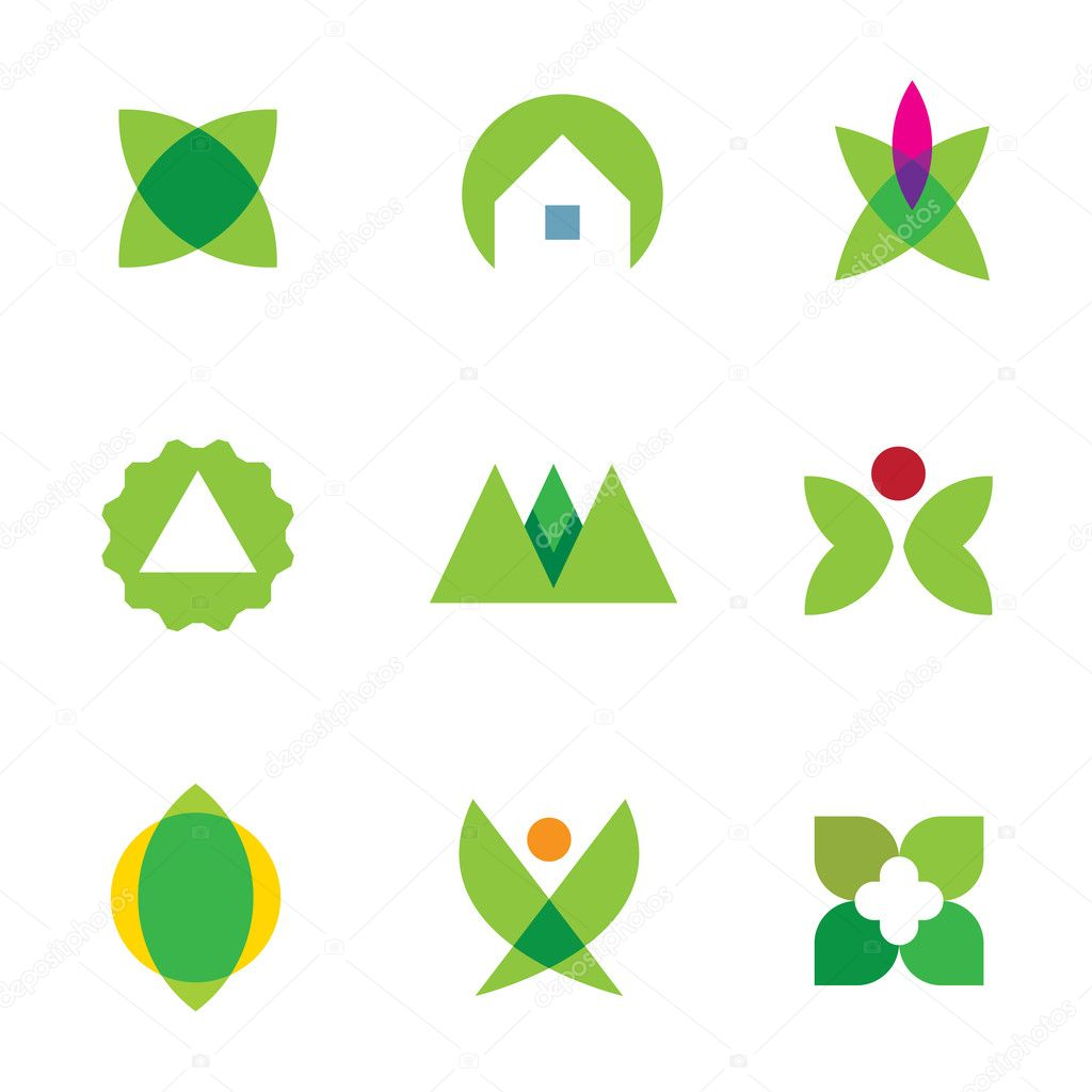 Green nature exploration home silhouette logo set application icon vector