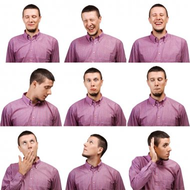 Collection of portraits male face expressions
