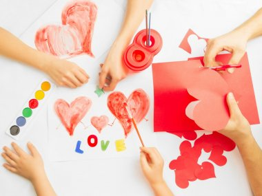 Family prepare for Valentine's Day