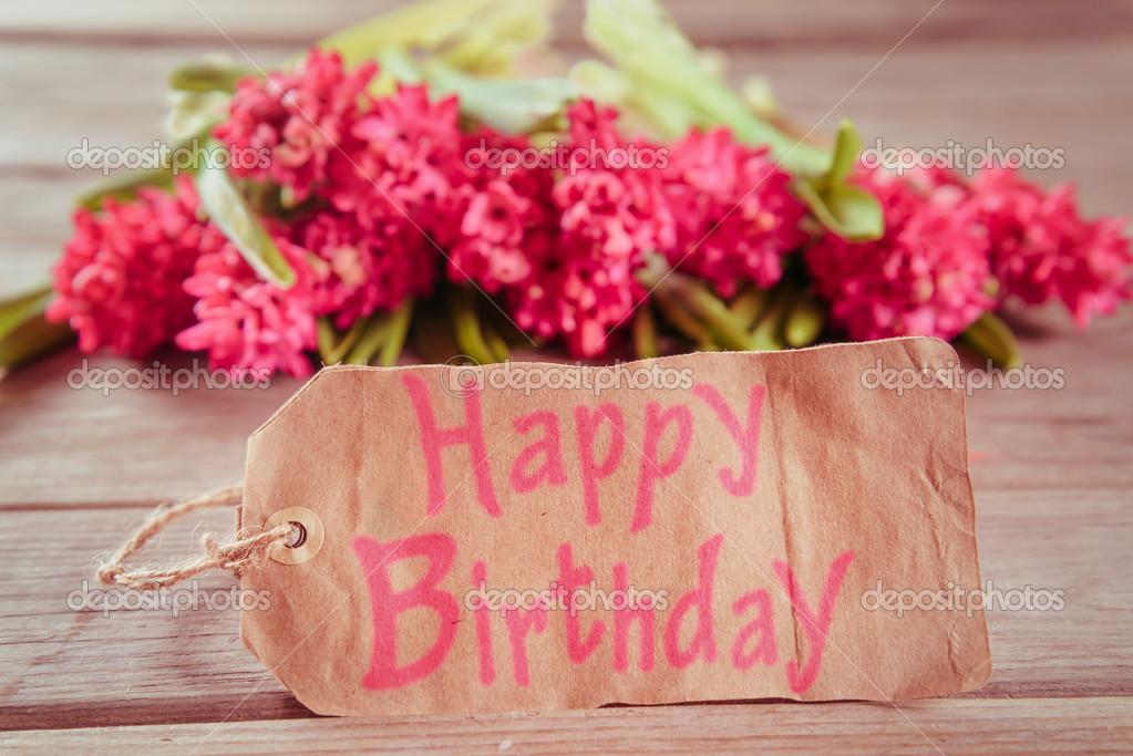 Popolare giacinti e auguri di buon compleanno — Foto Stock © Remains #46598079 LK06