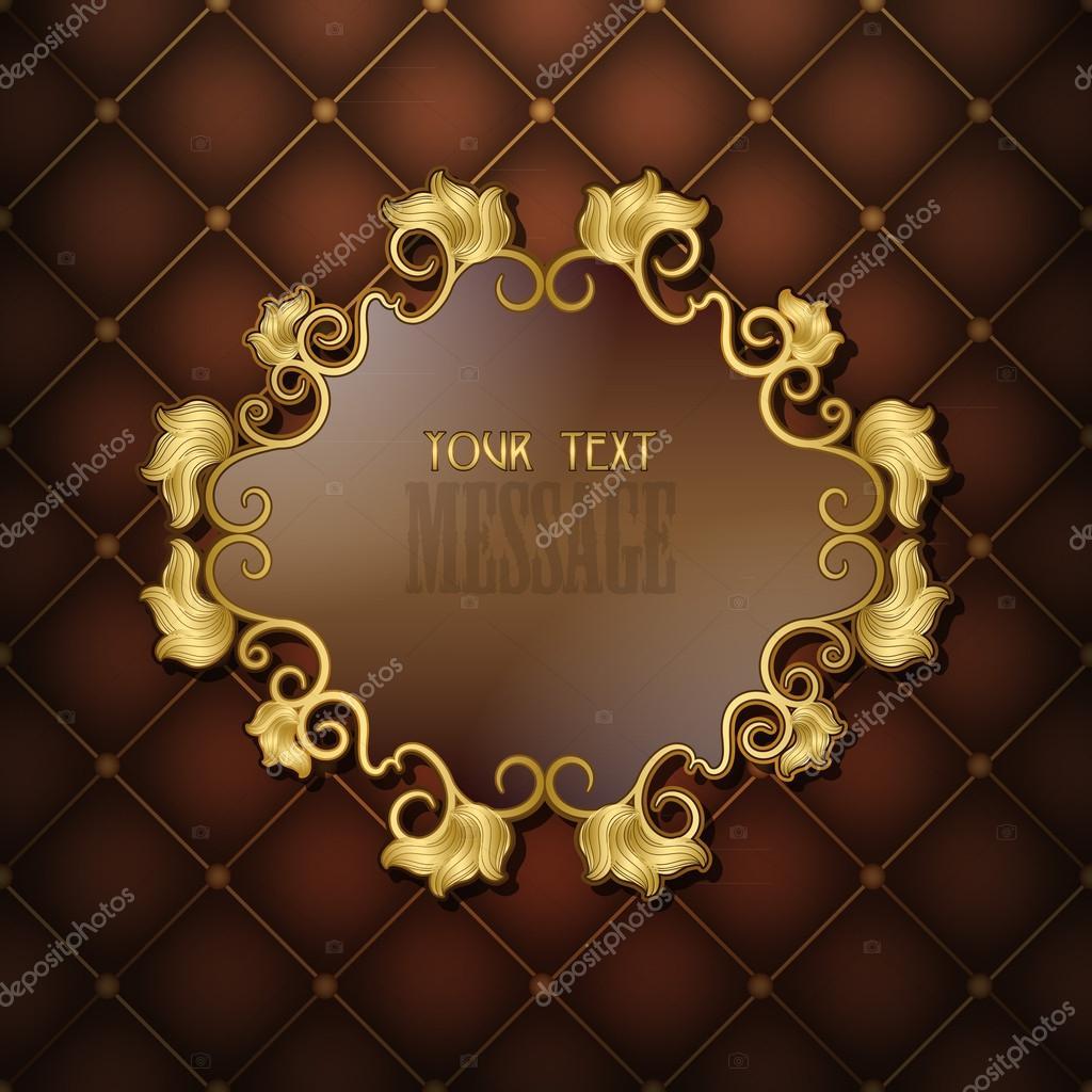 marco dorado con patrón floral en un acolchado de fondo marrón ...