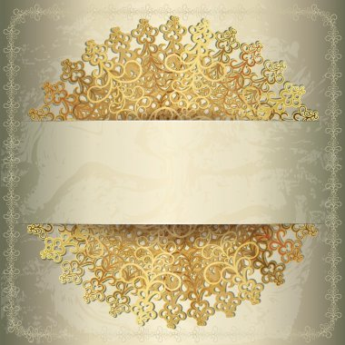Golden background with openwork circular pattern, wedding card stock vector