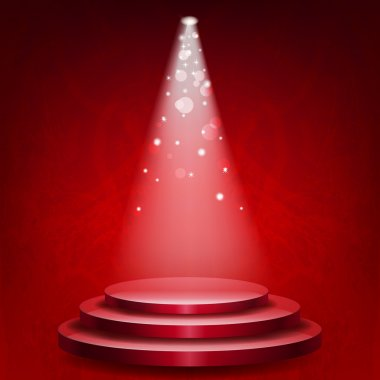 Empty podium illuminated lights on red grunge background
