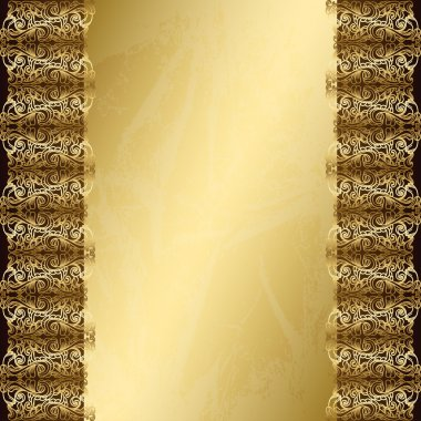 Golden vintage background with seamless lace border