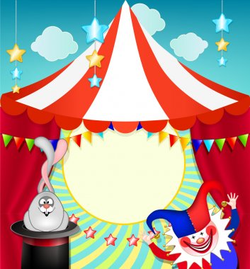 Funny Baby frame on circus theme. Bright clown and a rabbit in a hat.