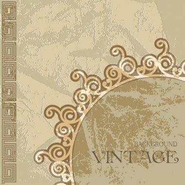 "Картина, постер, плакат, фотообои ""Текстура старой штукатурки от древние греческие орнаменты."", артикул 31090947"