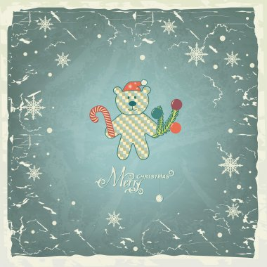 Funny Polar Bear in santa hat on vintage background, Christmas card.