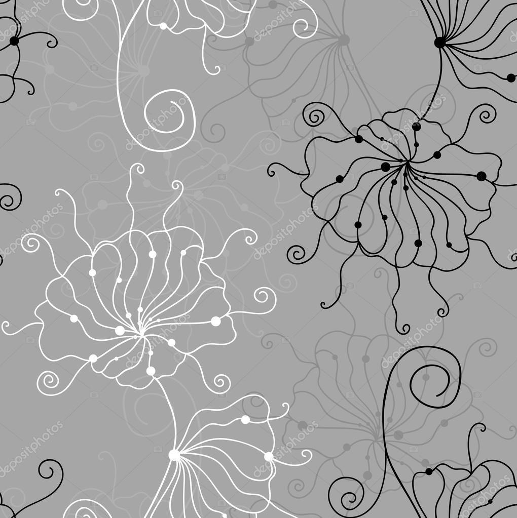 Fond D Ecran Noir Et Blanc Avec Motif Sans Couture Contour De Fleurs