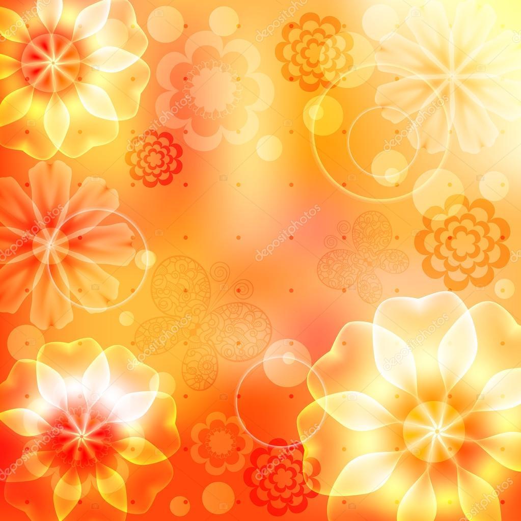 Well-known fundo laranja e amarelo com flores e borboletas — Vetores de Stock  CS52